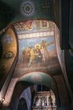 圣索菲娅大教堂穹顶有圣经的场面的 库存照片
