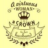 圣经诗歌一名贞洁妇女对她的丈夫的一个冠 免版税库存图片