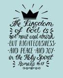 圣经诗歌天国是没有肉和饮料,而是正义、和平和喜悦在圣灵上 库存照片