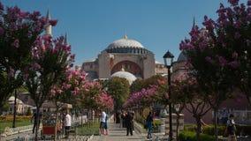 圣索非亚大教堂、清真寺和博物馆,基督徒大教堂,在Sultanahmet公园在伊斯坦布尔,土耳其 库存图片