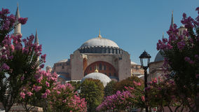 圣索非亚大教堂、清真寺和博物馆,基督徒大教堂,在Sultanahmet公园在伊斯坦布尔,土耳其 免版税图库摄影