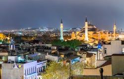 圣索非亚大教堂博物馆壮丽在晚上, Ist鸟瞰图  免版税图库摄影