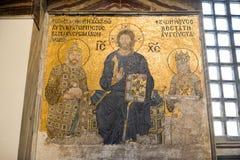 圣索非亚大教堂耶稣马赛克-伊斯坦布尔,土耳其 图库摄影