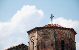 圣索非亚,奥赫里德,马其顿圆顶和十字架  库存图片