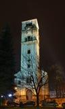 """圣Antun â€教会""""钟楼(Sahat kula)在比哈奇 达成协议波斯尼亚夹子色的greyed黑塞哥维那包括专业的区区映射路径替补被遮蔽的状态周围的领土对都市植被 免版税库存图片"""