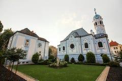 圣Elisabeth,蓝色教会,布拉索夫,斯洛伐克教会  库存图片
