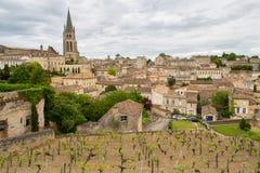 圣Emilion村庄和葡萄园 免版税库存照片