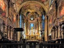圣Emmeram的大教堂内部在Nitra,斯洛伐克 免版税库存图片
