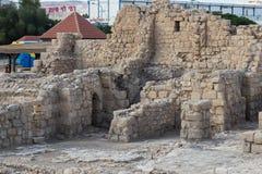 圣Euthymius废墟修道院的片段位于Ma `强麦酒阿杜米姆工业区的在以色列 库存图片