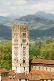 圣Frediano教会塔在卢卡 免版税库存照片