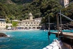 圣Fruttuoso,利古里亚海岸 库存照片
