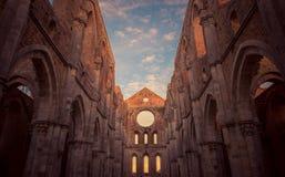 圣Galgano修道院,托斯卡纳内部的细节  库存图片