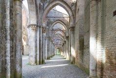圣Galgano,托斯卡纳,意大利修道院  图库摄影