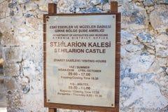 圣Hilarion城堡的标志日程表 免版税库存照片