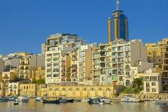 圣Julians全景在马耳他 免版税库存照片