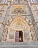圣Ludmila教会门户(1892)在布拉格 免版税库存照片