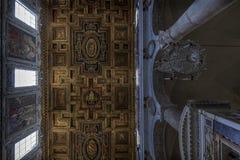 圣Marco大教堂的天花板,罗马,意大利 免版税图库摄影