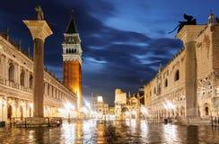 圣Marco广场在晚上,威尼斯意大利 免版税库存照片