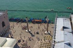 圣Marco广场鸟瞰图从钟楼,威尼斯,意大利的 免版税库存照片