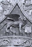 圣Marco钟楼,狮子细节,威尼斯,意大利 免版税图库摄影