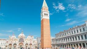 圣Marco钟楼timelapse圣马克大教堂钟楼圣马克广场的在威尼斯 股票视频