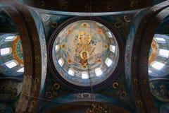圣Panteleimon大教堂内部了不起的受难者在新阿丰修道院里 大教堂,在1888-1900建造 免版税库存照片