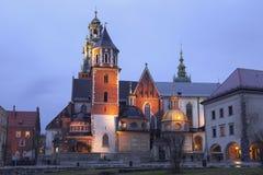 圣Stanislaw和圣Vaclav和皇家城堡大教堂的夜视图在Wawel小山的 免版税图库摄影