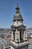 从圣Stephans大教堂的顶端看法在布达佩斯匈牙利 免版税图库摄影