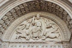 圣Trophime门面装饰细节教会在阿尔勒,证明 免版税库存图片