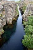 在Þingvellir的Peningagjà ¡在冰岛是一个美丽的目的地在一个国家公园在冰岛 免版税图库摄影