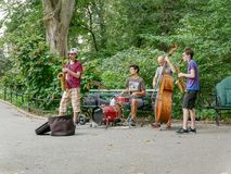 在Ð  utumn中央公园的音乐带 免版税库存图片