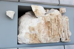 在Ù 上城博物馆-希腊的古老Scalpure 图库摄影