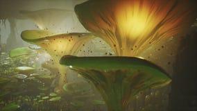 在一个不可思议的森林美丽的不可思议的蘑菇在失去的森林里和萤火虫的幻想蘑菇在背景与 库存例证