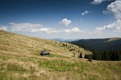 在一个亚高山带草甸的Shieling一座山的倾斜的在喀尔巴阡山脉的 库存图片