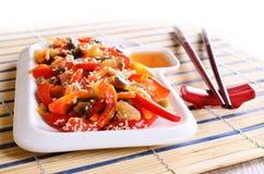 在一个亚洲样式的菜 免版税库存照片
