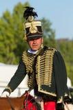 在一个传统匈牙利展示的匈牙利轻骑兵, 18 08 2013年匈牙利 图库摄影