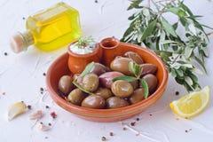 在一个传统棕色陶瓷碗的橄榄,用tzatziki调味汁、柠檬、大蒜、橄榄树枝和橄榄油在白色 免版税库存图片