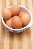 在一个传统陶瓷碗的鸡鸡蛋 图库摄影