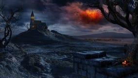 在一个偏僻的教会的红色风雨如磐的天空 库存图片
