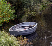 在一个停滞池塘的小船 库存图片