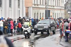 在一个全国事件的警车 免版税图库摄影