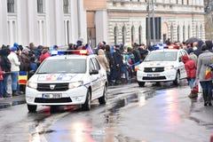 在一个全国事件的警车 图库摄影