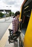 在一个公共交通工具的折叠的自行车 免版税库存照片