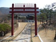 在一个公园的Torii门在韩国 免版税库存图片