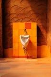 在一个公开休息室清洗白色尿壶 库存图片