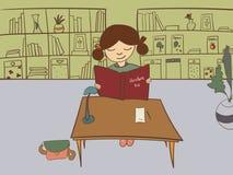 在一个公立图书馆里导航一个小女孩的例证 免版税图库摄影