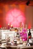 在一个典雅的结婚宴会的焦点 免版税库存图片