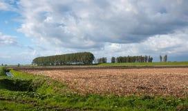 在一个农业风景上的威胁的云彩 库存图片