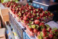 在一个农厂市场上的草莓在城市 水果和蔬菜在农夫夏天市场上 免版税库存图片