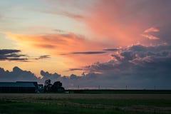 在一个农场的日落在荷兰乡下 太阳的最后光在遥远的雷暴铁砧发光  免版税图库摄影